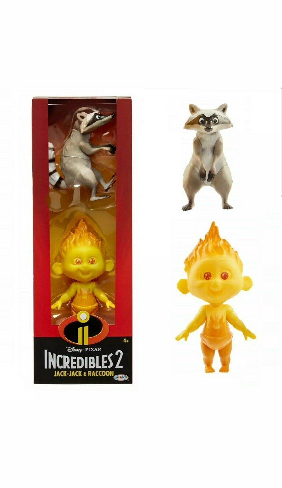 Primary image for Disney Pixar Incredibles 2 Fire Jack-Jack and Raccoon Action Figures Set - New