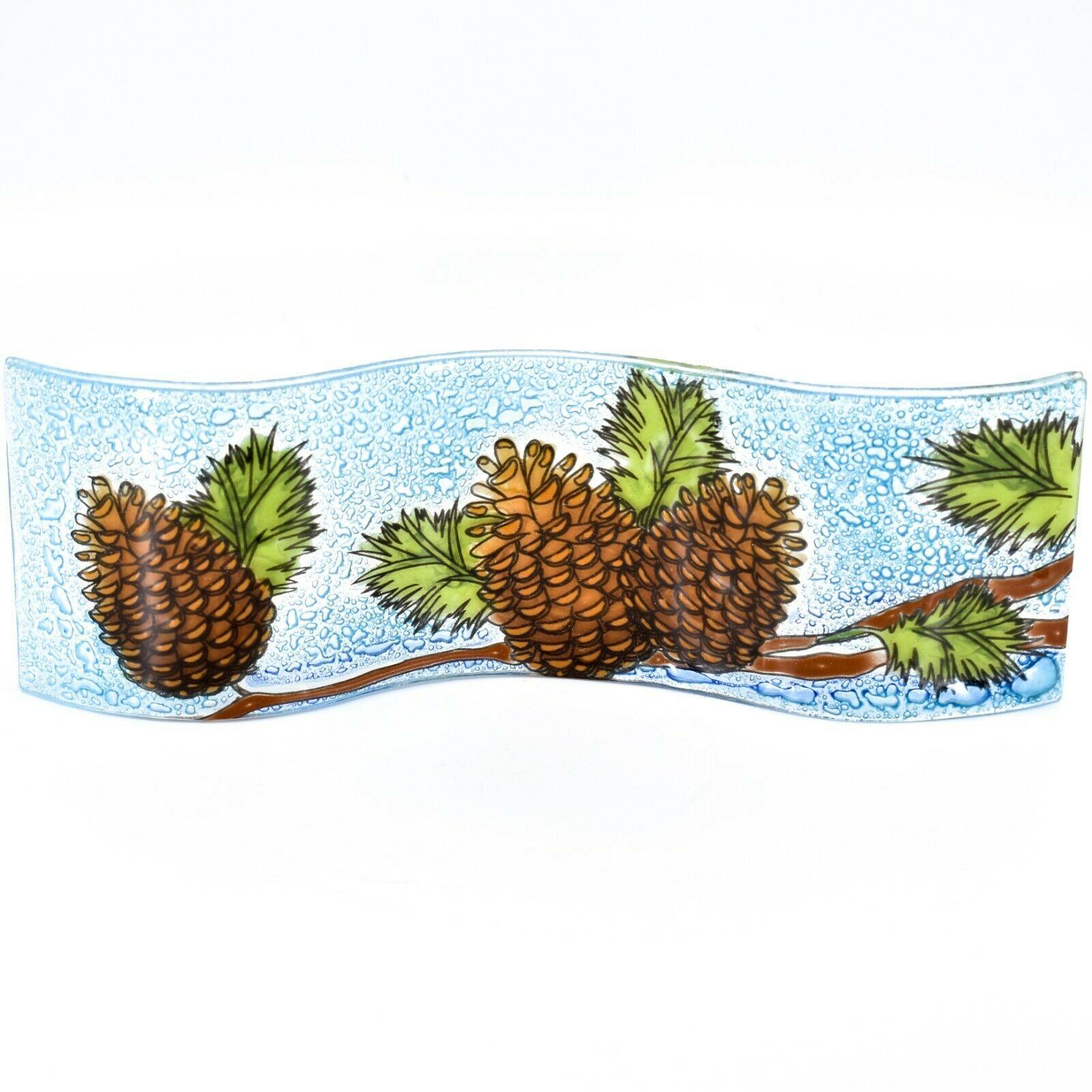 Fused Art Glass Winter Pinecones Wavy Decor Holiday Sun Catcher Handmade Ecuador