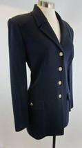 ST JOHN Navy Santana Knit Gold Logo Button Long Jacket NWT 8 - $296.99