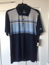 Adidas Golf Mens Chest Stripe Polo Navy UPF 50 Size M NWT - $29.60