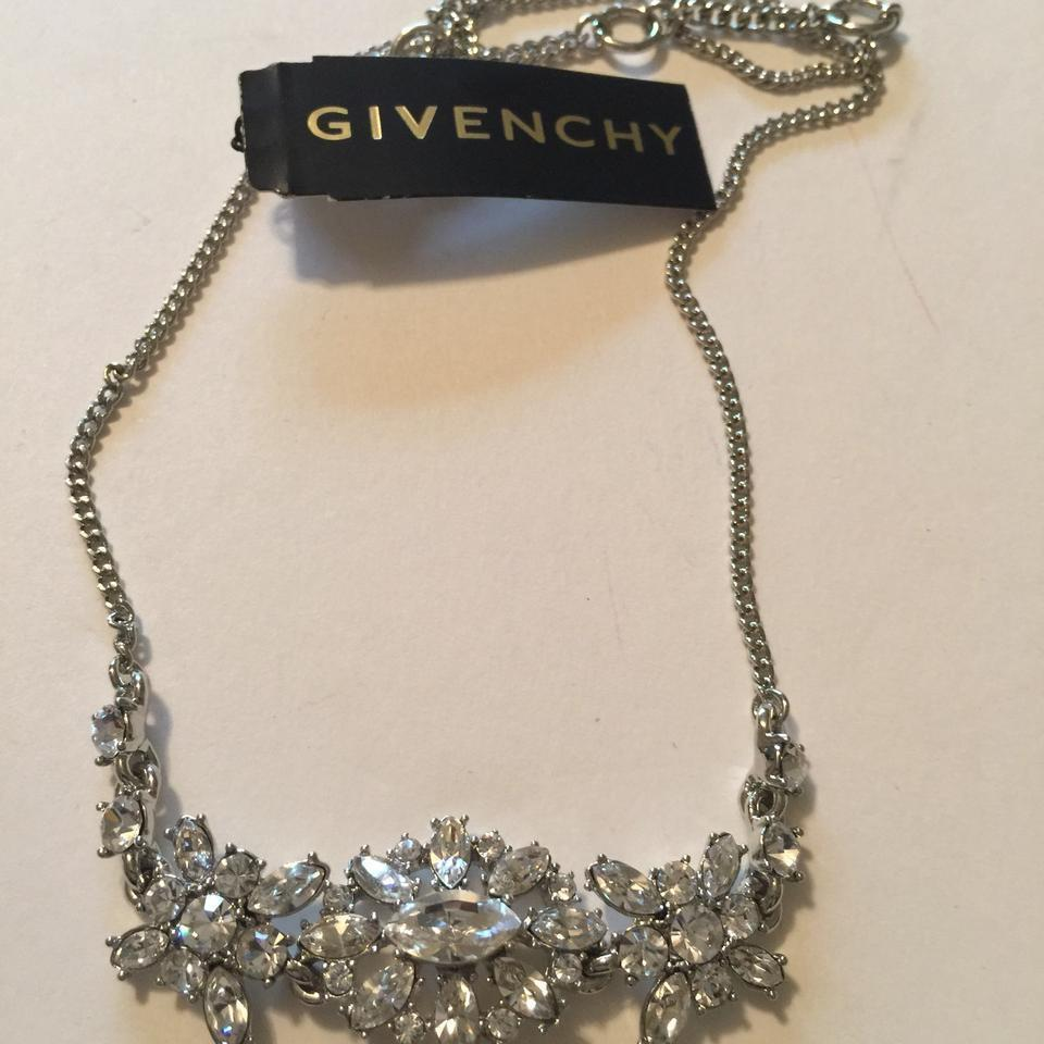 Givenchy Silver Tone Swarovski Element Crystals Necklace,NWT$78