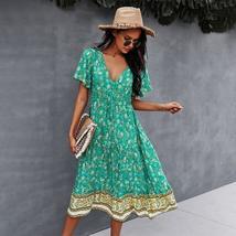 Women's Casual Chain Print Lapel Neck Beach Sundress image 8