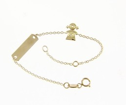 18K YELLOW GOLD BRACELET FOR KIDS WITH GIRL AND CUBIC ZIRCONIA MADE IN ITALY image 1