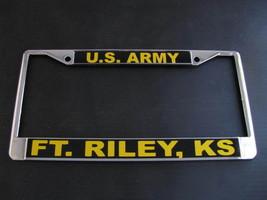 -U.S. ARMY-Ft. Riley, KA-License Plate Frame-Chromed Cast Metal-#811113 - $19.70