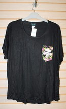 NEW WOMENS PLUS SIZE3x STILL KILLIN' IT BLACK FLORAL POCKET T TEE SHIRT TOP - $15.47