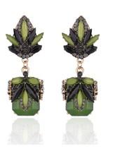Rhinestone Faux Jade Drop Earrings - $4.95