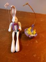 2 Easter Ornaments Dept 56 Bunny Rabbit holding Carrot & Umbrella with D... - $15.84