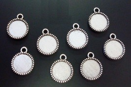 8 Scalloped Bezel settings for 12mm cabochons make pendants earring char... - $1.95