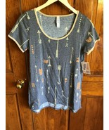 LuLaRoe Gray Arrow Print Short Sleeve Classic T Shirt XXS - $13.86