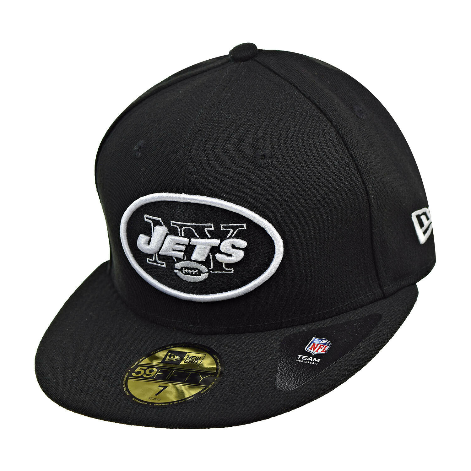 New Era New York Jets NFL 59Fifty Men's Fitted Hat Cap Black-White - £28.06 GBP