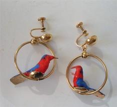 Vintage Bird In Hoop Earrings Spun Cotton Gold Red Blue Screwbacks FAB! - $22.28
