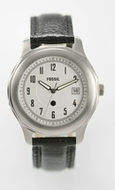 Fossil Watch Mens Stainless Silver Black Leather Date Water Re 50m White Quartz - £26.86 GBP