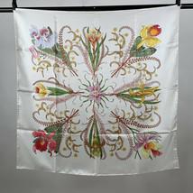 Authentic Gucci Vintage 1974 White Silk Scarf Accornero Orchidee Orchids - $262.35