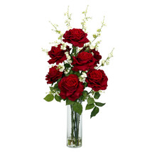 Roses with Cherry Blossoms Silk Flower Arrangement - $100.00