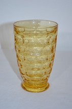 """Vintage Mid Century Glass Water Goblet 5"""" Yellow Gold - $9.50"""