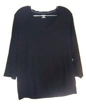 St. John's Bay Classic Tee Black Long Sleeve T-Shirt Top Size XL  - $28.49