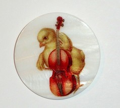 """Chick Playing Cello Button on Mother of Pearl MOP Shank Button 1+3/8""""  C... - $11.99"""
