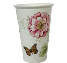 Lenox Glass Cup Mug Butterfly Meadow Flower Butterflies Floral Rose Figurine vtg - $34.60