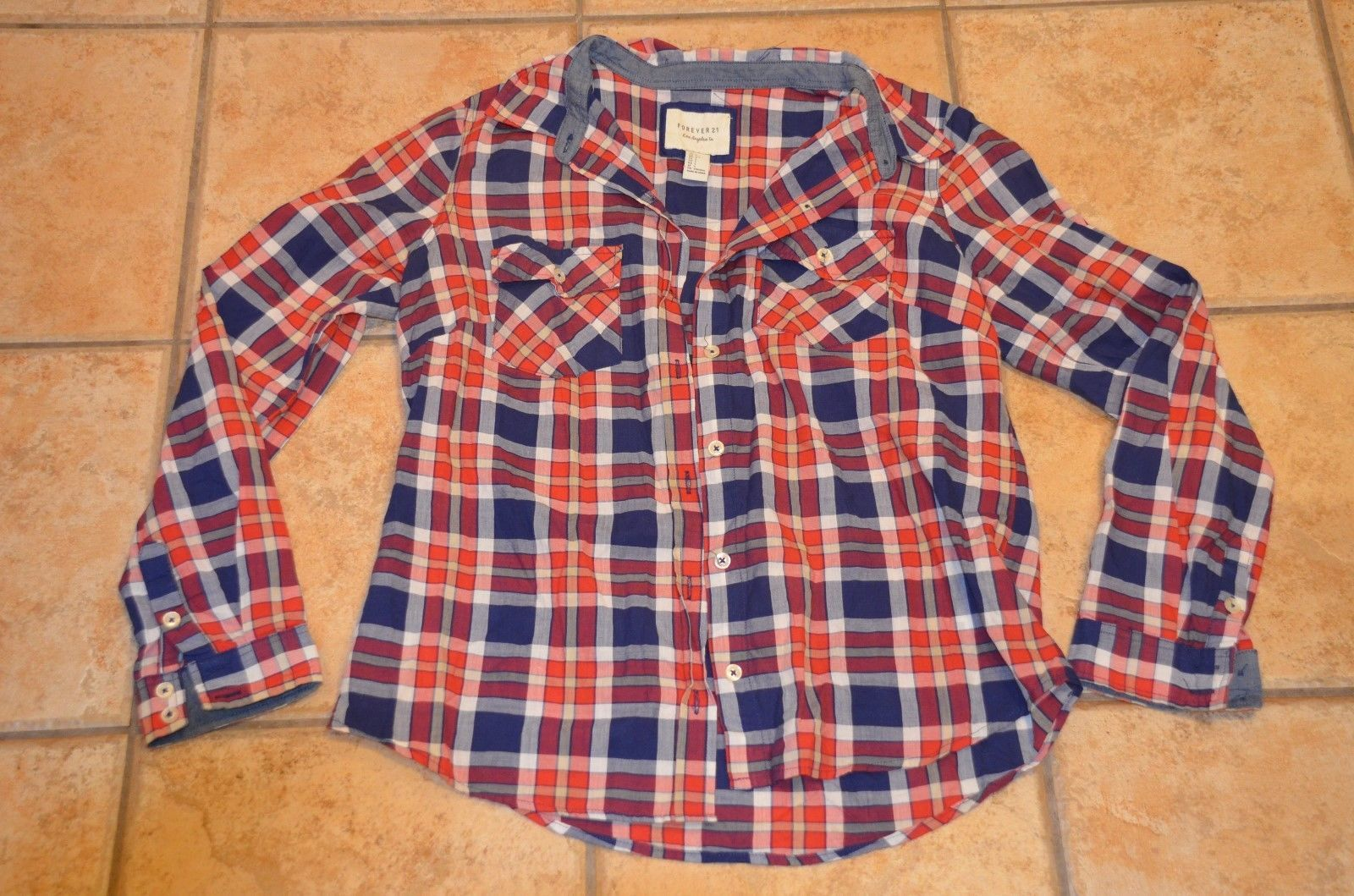 Primary image for FOREVER 21 RED NAVY BLUE PLAID Button Down SHIRT L  M CHEST POCKET COUNTRY EU