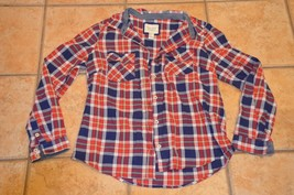 Forever 21 Red Navy Blue Plaid Button Down Shirt L M Chest Pocket Country Eu - $13.50