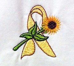Yellow Ribbon Sunflower T-Shirt S White Liver Bladder Cancer Spina Bifida New image 3