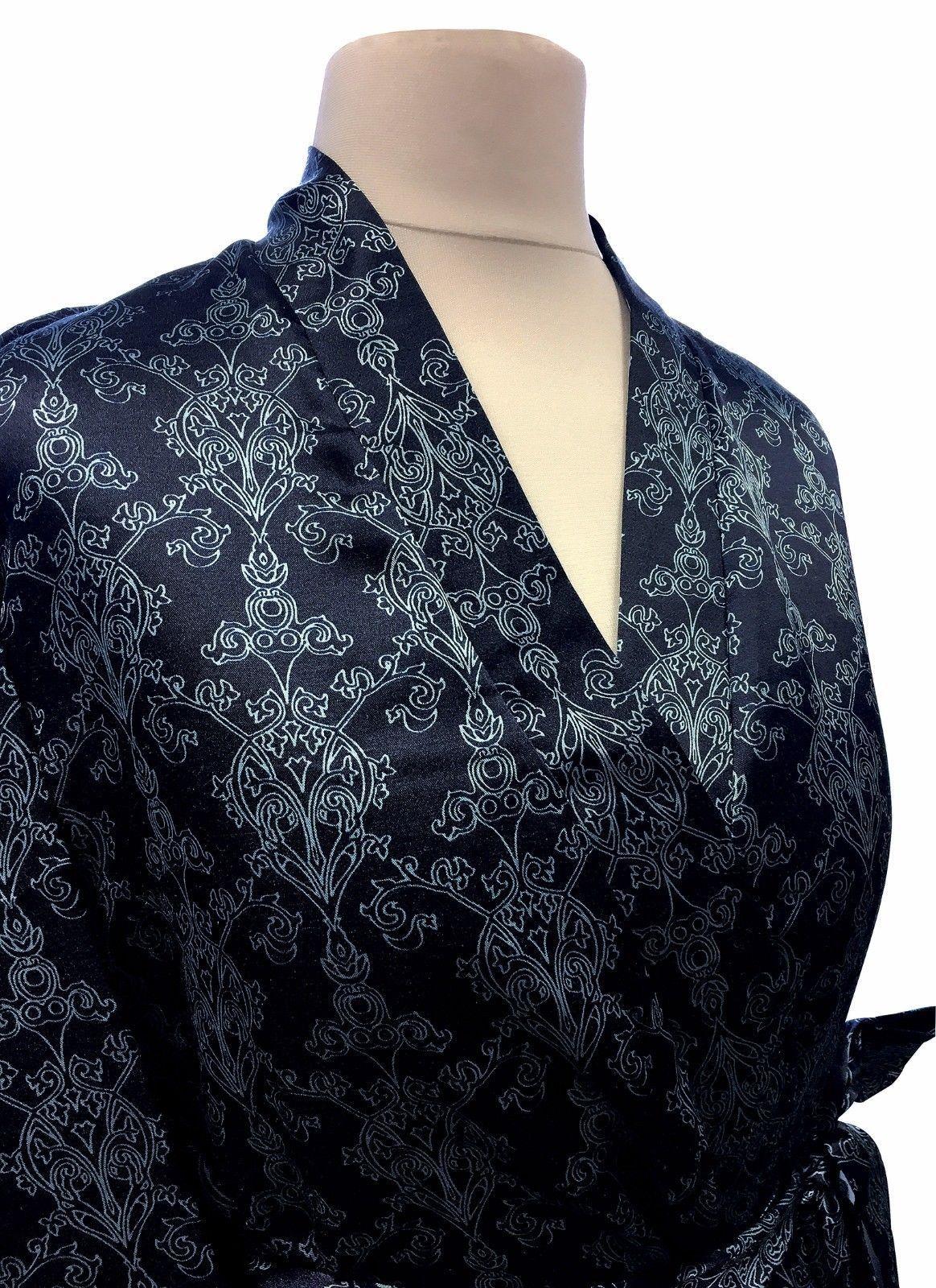 Womens Vintage Filigree Pattern Long Lined Satin Robe Wrap Kimono Dressing  Gown 8a7d4eaea
