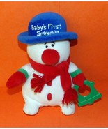 "Carter's Baby's First Snowman Soft White Plush 8"" Rattler Holds Christma... - $4.29"