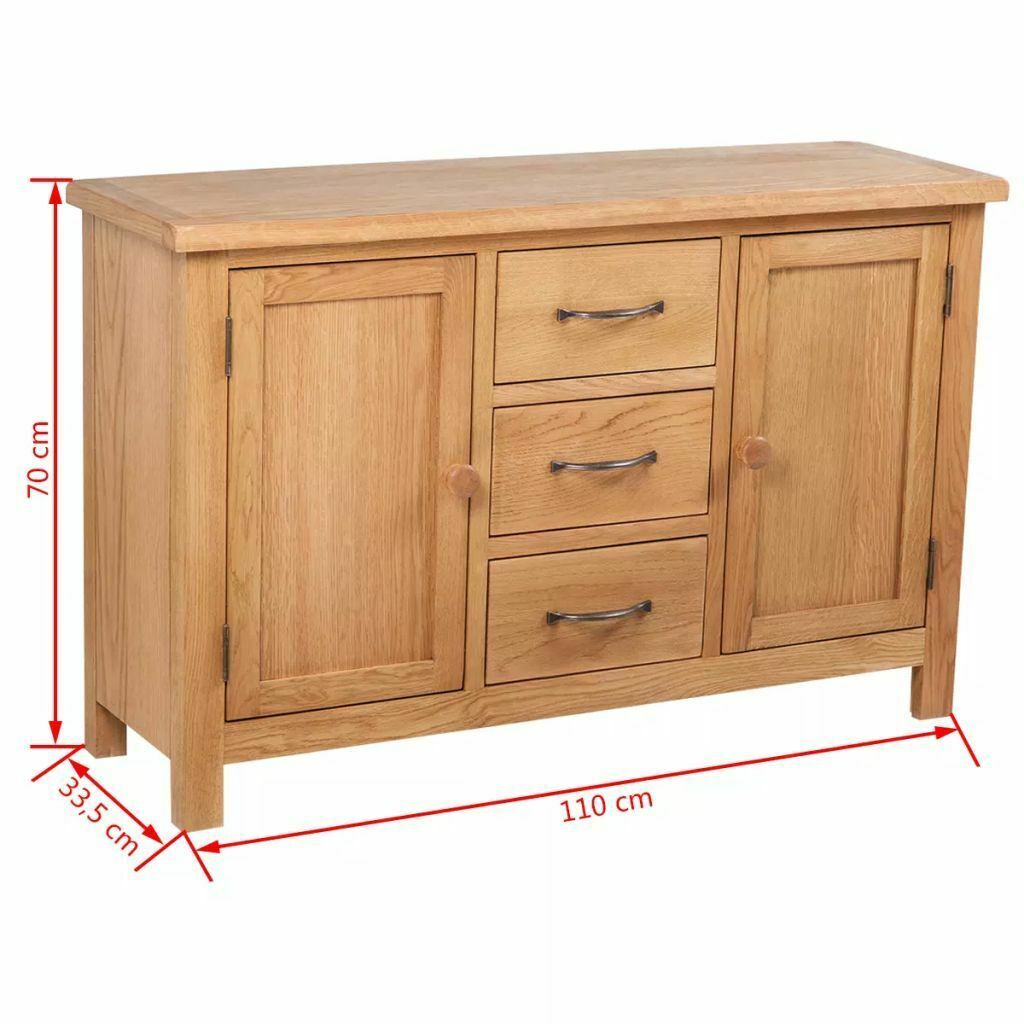 vidaXL Solid Oak Sideboard w/ 3 Drawers 2 Doors Side Storage Cabinet Cupboard image 7