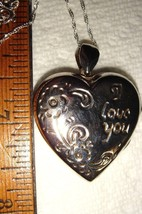 VTG STERLING SILVER PUFFY HEART I LOVE YOU LOCKET NECKLACE ENGRAVED EARR... - $297.99