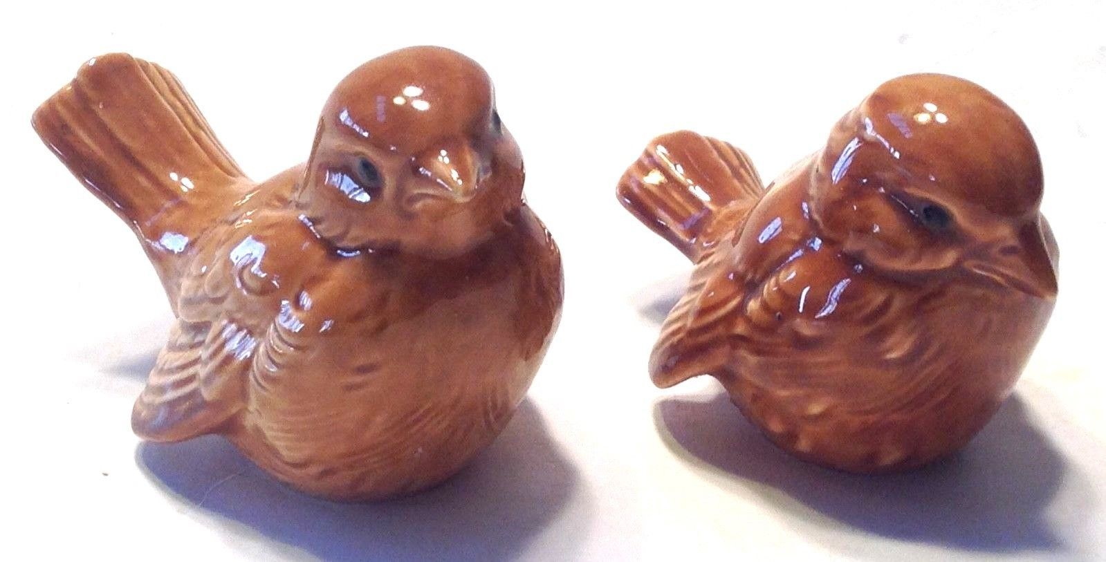 Bird Figurine Set of  2 Goebel Germany Brown CV73 & CV74