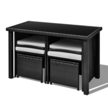 Outdoor Patio Rattan Dining Set Garden Cube Storage Table 2 Chairs 2 Stool Black image 4