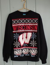 Champion Eco Fleece Mens Medium Black Wisconsin Badgers Sweatshirt Chris... - $19.34