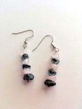 Pink and Gray Gemstone Dangle Hook Earrings, Gift Idea, Gift 4 Her, Silv... - $15.00