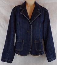 Womens Talbots Blue Denim Stretch Blazer Jacket Size 6 - $15.85