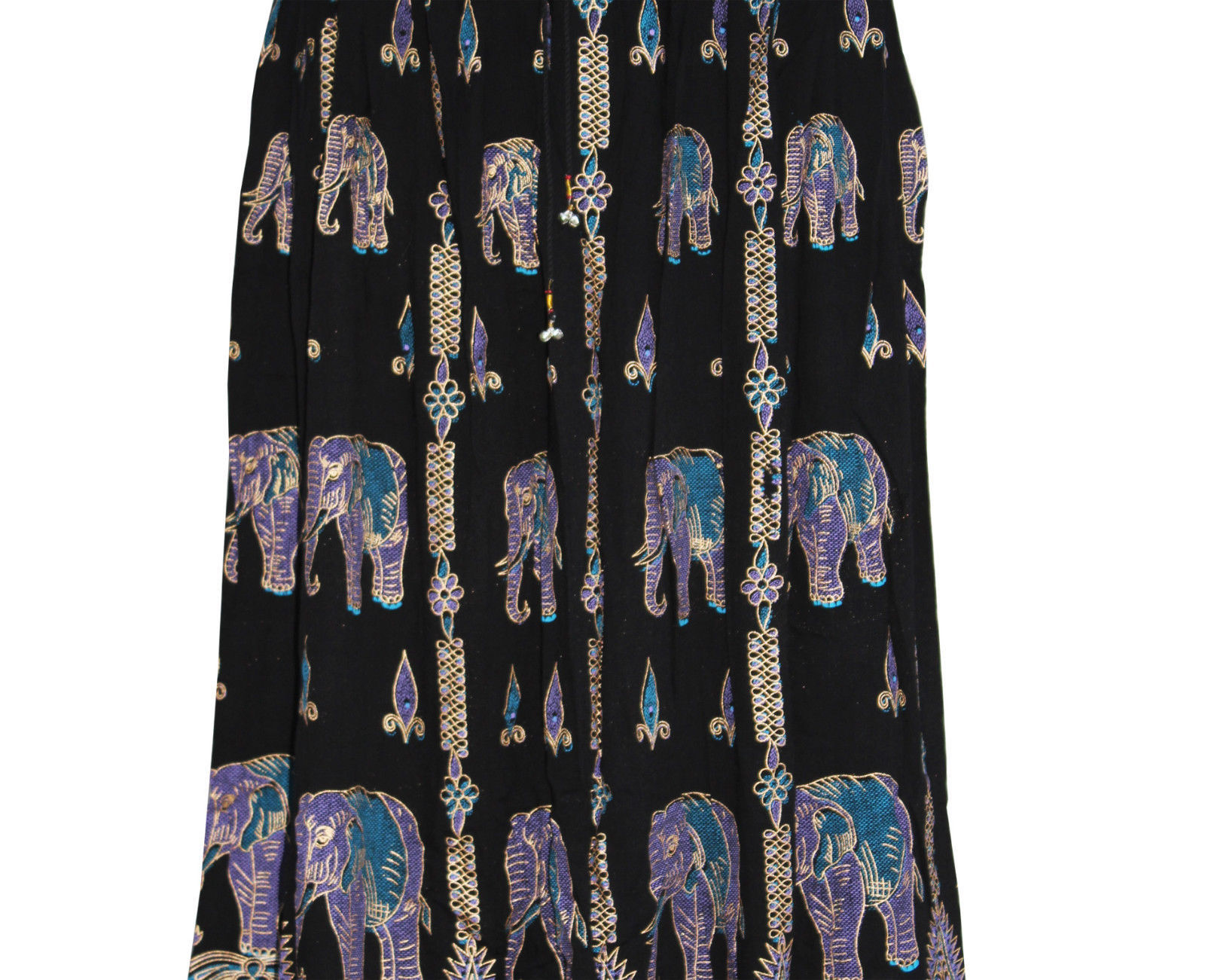 Women Indian Boho Hippie Festival Party Elephant Print Long Sequence Skirt