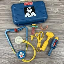 Fisher Price Medical Kit Doctor Nurse Pretend Play Blue Plastic Case Vintage - $10.00