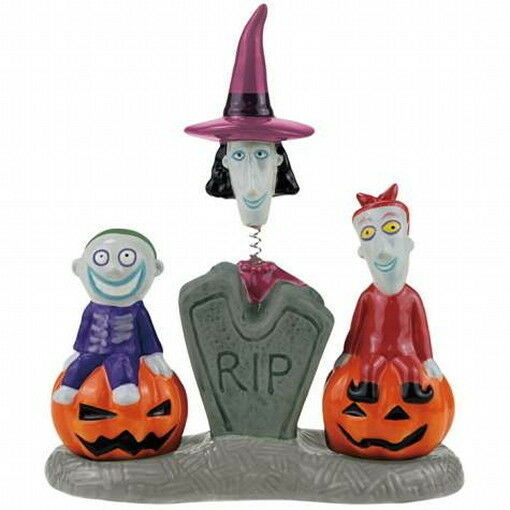 Nightmare Before Xmas Lock, Shock and Barrel Ceramic Salt & Pepper Shakers, NEW