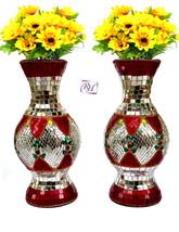 Flower Vases Pot Mirror Work Lac Decoretive Flower Pot Flower Vases - $72.00