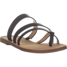 Nine West Claire Flat Strappy Sandals, Black Leather, 7 US - $42.61