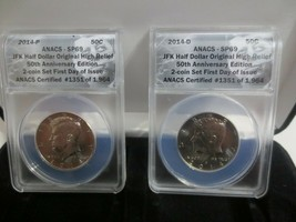 2014 P&D Kennedy Half Dollar 50th Anniversary ANACS SP69 2 Coin FIRST DAY.. - $130.00