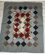 Handcrafted green torquoise burgundy floral lap baby quilt 26 x 32 - $35.00