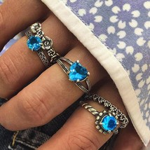 Jewdy® 5Pcs/Lot Vintage Blue Crystal Rings Set For Woman Bohemian Heart ... - $4.10