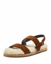 Saint Laurent Joan Noe Flat Suede Sandals with Shearling Footbed Size 41 - $386.09