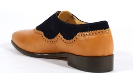 Handmade Men's Tan Leather & Black Suede Brogues Stylish Shoes image 2