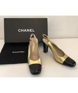 Chanel Gold Metallic Black Patent Leather Cap Toe & Heel Slingback Shoe 37 - $265.00
