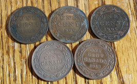 Canada Cents 1904, 2-1906, 1915, 1918 5 Coins - $8.00