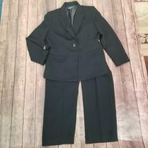 Kasper Womens Black Collared Front Button 2 Piece Blazer Pant Suit Size 12P - $35.63