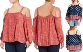 Jessica Simpson Women's Plus Size Anita Cold Shoulder Top, Coral Garden ... - $29.99