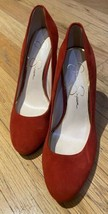 Jessica Simpson Belemo Heels Pump Red Lux Suede Shoes 7.5 Round Toe - $39.59