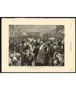 1895 An Irish Pig Fair on a Wet Day Art Print Charles J. Staniland Artist - $38.99